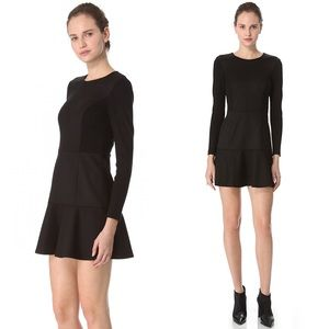 Theory Nagida Elite Wool Long Sleeve Black Dress